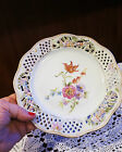 WHITE GOLD OPEN LACY RIM PLATE HANDPAINTED PINK  BLUE ORANGE PURPLE FLOWERS 8