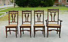 Set of 4 Walnut Victorian  Eastlake Cane Bottom Dining Game Chairs c 1880