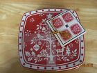NWT 222 FIFTH TIVOLI RED SQUARE CHRISTMAS TREE DESSERTAPPETIZER  PLATES SET OF 4