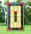 20 x 34 Large Tiffany Style stained glass window panel Rose Flower
