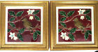 Antique Pair of Minton, Hollins & Co. Hand Painted Birds and Blossoms Tiles