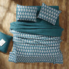 PRIYA AEGEAN BLUE 3pc Queen Quilt Set Creme/Teal Henna Paisley Boho *MAKE OFFER*