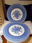 Rare Vintage SET of  FOUR (4) CHURCHILL ENGLAND OUT OF THE BLUE DINNER PLATES