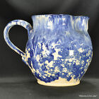 SPONGEWARE PITCHER - Vintage Blue & White Large Pitcher, signed by Creator