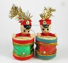 Vintage Drummer Boy Soldier Christmas Tree Ornament Set of 2 Japan Drum Band