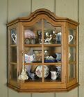 Antique French Oak Wall Shelf Vitrine Curio Glass Display Cabinet Bonnet Top