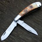The Bone Edge Collector's Handmade Real Bone Trapper Folding Pocket Knife -T