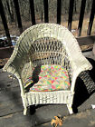 OLD ANTIQUE White Wicker Rocking Chair Small Kid's Child's Heavy Plant Stand