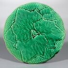 Vintage French Green Majolica Plate, Gien France, Grapevine Leaf Pattern