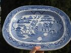 ANTIQUE Large Flow Blue WILLOW Platter TRANSFERWARE BUFFALO STAFFORDSHIRE 18