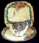 Royal Albert Art Nouveau hand painted gold gild tea cup, saucer plate trio