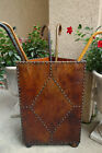 Antique English LEATHER and Wood CORNER Umbrella Stick Stand  Cane Club Stand