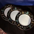 Fitz and Floyd Chinoiserie Buddha Temple Black Gold FF41 SET 3 DINNER PLATES 10