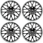 4PC Set Hub Cap ICE BLACK CHROME TRIM 15 Inch for Rim Wheel Cover Caps Covers