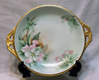 Vintage Silesia Victorian Porcelain 2 Handled Cake Plate, Apple Blossoms
