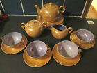 17 Piece Set LUSTERWARE Tea Pot Set, Cups, Saucers, Plates, Sugar