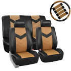 Best Quality PU Leather Front Rear Car Seat Cover Tan Black For Car SUV