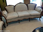 French c1890-1910 Victorian Carved Wood Triple Back Sofa Newly Upholstered 86