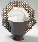 3  Nikko / Independence Ironstone Brown Cane Cups and Saucers & 2 Lunch Plates