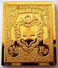Switzerland 2 1/2 Rappen Stamp 1850 24 K Gold Plated on Sterling Silver Rare !