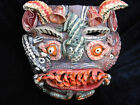 Incredible Large Hand Made & Painted Mexican Devil Mask Clay Folk Art