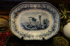 Antique English Copeland Spode Staffordshire Meat Platter 1851 Blue Greek Column