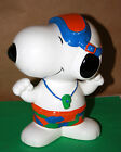 Vintage Snoopy Ceramic Coin Bank By Denz Life Guard Peanuts Charlie Brown