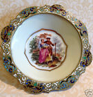 French Sevres? Hand Painted Signed Porcelain Pin Tray Champleve Enamel Mount