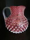 Antique Hobbs Brockunier Cranberry Glass Opalescent Hobnail Square Water Pitcher