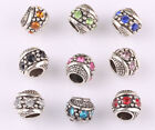 Variety 10pcs Mix Lampwork Cz Big Hole Spacer Beads Fit Charm European Bracelet