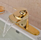 Gold Finish Waterfall Spout Single Lever Bathroom Sink Faucet with Cover Plate