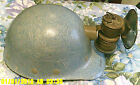 VINTAGE COAL MINERS CARBIDE LAMP LIGHT BLUE FIBREMETAL HARD HAT PREMIER