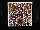 VINTAGE HAND PAINTED IKAROS TILE RHODES GREECE BROWN OVER WHITE WITH STAG