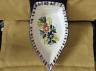 Handpainted ceramic boat serving piece from Spain, white with floral pattern