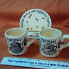 Cafe Au Lait 2 CupS and  1 Saucer LOT ESPRESSO BY CARDINAL  HAND PAINTED (c-2)