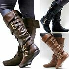 New Women FPS Brown Tan Black Riding Knee High Boots sz 55 to 10