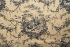 2 Yds Waverly Dark Blue Print Toile, 54 Inches Wide, New