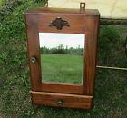 Vintage Carved Wood Medicine Wall Cabinet Apothecary Kitchen Bathroom mirror