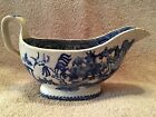 Antique 1800's English Blue Willow Gravy Boat