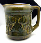 Very Old Majolica Pitcher Green with Raised Row of Trees Shaded Lane