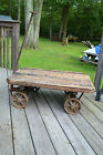 Antique Lansing Military castiron Railroad Cart CoffeeTable Industrial Steampunk