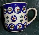 POLISH MUG HAND MADE PAINTED WIZA  29 BLUE/WHITE BROWN GREEN 3 3/4 X4