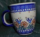 POLAND  MUG HAND MADE PAINTED  BLUE/WHITE/BROWN  GREEN 3 1/2 X4