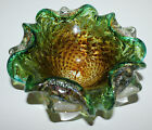 Murano Bowl Ashtray Candy Dish Green Clear Gold Silver Flakes Art Glass