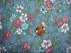 12 yds RARE Joan Kessler Concord House COUNTRY FLORALS blue quilting sewing