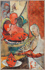 Figures with red fish vintage abstract cubist modern strange signed oil painting