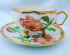 ANTIQUE SHAFFORD MADE IN JAPAN 3 FOOTED PEONY TEA CUP AND SAUCER