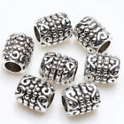 50 Tibetan Silver Craving Tube Charm Spacer Bead Bracelet Jewelry Finding 6x5mm