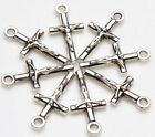 25pcs Tibet Silver Cross Loose Beads Pendant Jewelry Making For Bracelet 21x9mm
