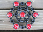 Vintage Wales Japan Cast Iron Candle Holder Black Red Tiles Spider 12 Thin Taper